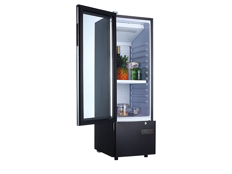 Glass door mini refrigerator wine cooler